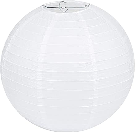 GWHOLE 16 Inch Round Paper Lanterns, Chinese/Japanese Home, Party & Wedding Decorations - White (10 Pack)
