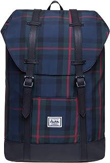 KAUKKO Damen Herren Rucksack Vintage Britischer Stil Reiserucksack für 12 Zoll Notebook Lässiger Daypacks Schultaschen, 29  15  41CM, 17.8L Schwarz JNL-EP6-12-03