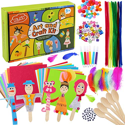 Caydo 10 Sets People Wooden Spoons Kit Class Pack for Kids Gift, School and Class Art Craft Activity