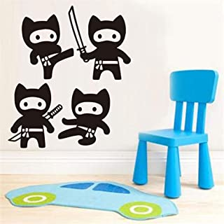 Misip Art Saying Lettering Sticker Wall Decoration Art Cartoon Ninja Wall Stickers Children's Bedroom Decorative Wall Stickers Home Wallpaper