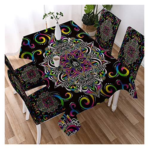 LINMAN Nappe Noire Blanche Fleur étanche Cuisine Table Tissu mystérieux Univers Gemstone Table Nappe nappes nappes (Color : Harmony, Taille : 140x180 Tablecloth)