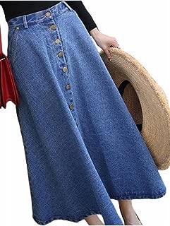 Women's Casual High?Waist Button Up Loose A Line Midi Denim Skirt