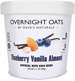 Overnight Oats by Dave's Naturals, Blueberry Vanilla Almond Oatmeal Cup, Box of 8, Healthy Breakfast, With Chia Seeds and Gluten Free Whole Grain Oats