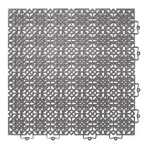 andiamo Kunststofffliese Terra Sol 38x38 cm, Bodenfliese mit Klicksystem, belastbar, Farbe:Dunkelgrau, Größe:Fliese - Set 14 Stück (2m²)