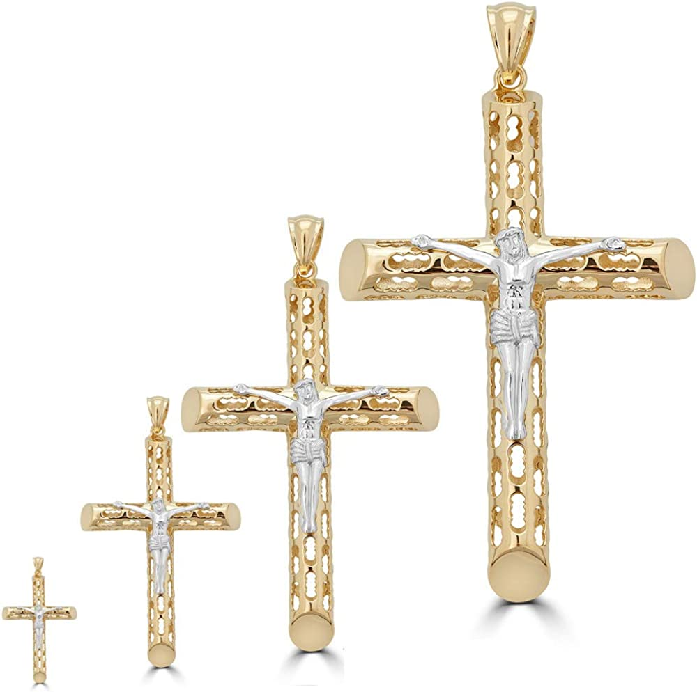 Solid Outlet sale feature 925 Sterling Silver free Men's Cross with - G Pendant 14k Jesus