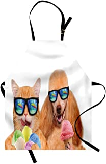 Ambesonne Animal Apron, Cat Dog Pet with Sunglasses Eating Ice Cream Retro Cool Vintage Pop Artwork Image, Unisex Kitchen Bib with Adjustable Neck for Cooking Gardening, Adult Size, Pale Brown