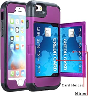 iPhone 6 Plus / 6s Plus Wallet Case, Ankoe Three Layer Shockproof Protection Heavy Duty Case with Card Holder and Hidden Back Mirror & Kickstand Case for iPhone 6 Plus / 6S Plus 5.5 inch (Purple)