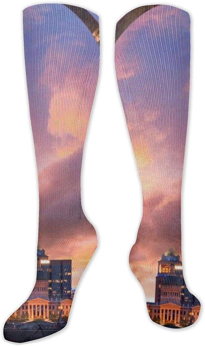 Sunset St Louis Missouri America Knee High Socks Leg Warmer Dresses Long Boot Stockings For Womens Cosplay Daily Wear