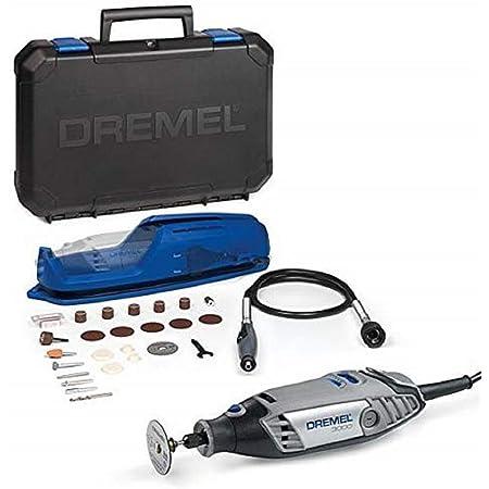 Dremel 3000 - Multiherramienta, 130 W, kit con eje flexible y 25 accesorios, velocidad variable 10.000 - 33.000 rpm para tallar, fresar, amolar, limpiar, pulir, cortar, lijar y grabar
