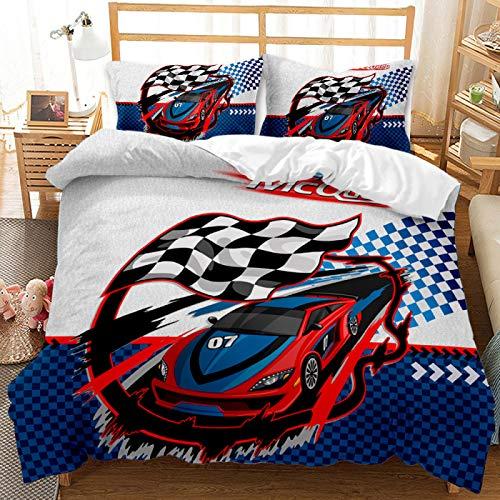 QXbecky Set biancheria da letto Federa copripiumino per auto d'epoca da corsa F1 famosa in tutto il mondo 2, set da 3 pezzi in microfibra spazzolata calda e traspirante 228 cm