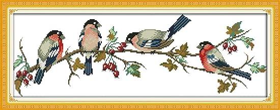 YEESAM ART® Kit de punto de cruz para principiantes avanzados, juego de bordado con agujas y patrón de punto de cruz, ideal como decoración del hogar o regalo de Navidad, Birds, Stamped