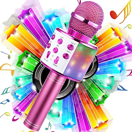 WDERNI Microphone for Kids, Wireless Bluetooth Karaoke Microphone MP3 Players with LED Lights, Best Gifts Toys for Girls Boys Adults All Age (red-LED)