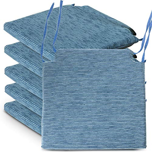 BCASE Pack de 6 Cojines de Asiento y Silla Espuma Fantasy, 40x40cm, Desenfundable con Cremallera, Cómodos, Resistentes, Fácil de Limpiar, para Cocina, Cuarto,etc Azul