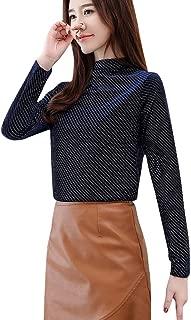 ERLOU Women Long Sleeve Casual Loose Tunic High Collar T Shirts Blouses Stripe Slim Sweatshirts Pullover Tops