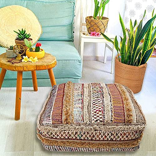 Mandala Life ART - Funda de cojín de lana y algodón para bordar a mano, relleno no incluido, 24 x 8 pulgadas, funda de almohada de lujo Boho Chic