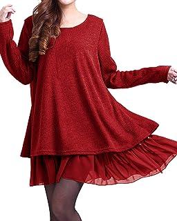 ZANZEA Donna Maglione Camicetta Maglie Pullover Donna Top Lungo Vestitino Invernale Camicetta Corto Elegante Casual Moda C...