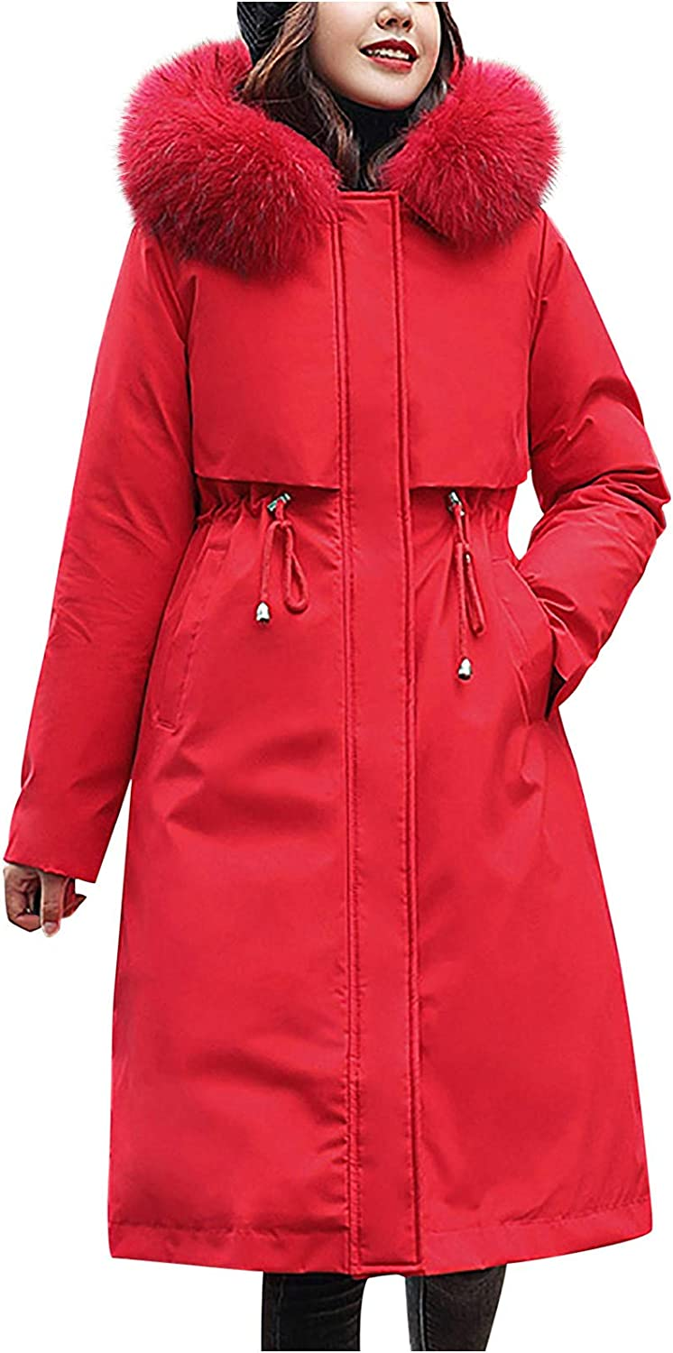 HGWXX7 Womens Miami Mall Outerwear Slim Fit Very popular Long Co Winter Size Sleeve Plus