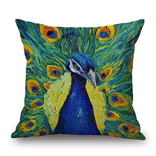Fashion pavone stampa cotone cuscino divano Home Decor design quadrato 45cm floreale popular Fashion Pillow case, Cotone, 85178, 17.7X17.7inch