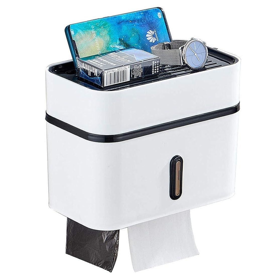 社交的ひいきにする効能多機能トイレットティッシュボックス、ABS防水ティッシュホルダー、無孔壁取り付け、ダブルストレージモード、すばやく取り付け可能