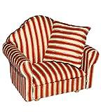 alles-meine.de GmbH Miniatur Sessel mit Kissen - für Puppenstube Maßstab 1:12 - rot weiß golden -...