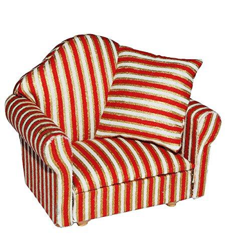 alles-meine.de GmbH Miniatur Sessel mit Kissen - für Puppenstube Maßstab 1:12 - rot weiß golden - gestreift - Puppenhaus Puppenhausmöbel Sofasessel Wohnzimmer Klein - für Wohnzim..