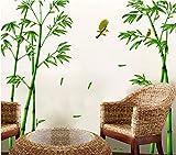 Pegatina XL bambu y colibris original terrazas, cocinas, baños, armarios, puertas, boutiques, restaurantes, caravanas, habitaciones pared/cristal escaleras farmacias 1.65 x 2.50 cm de CHIPYHOME