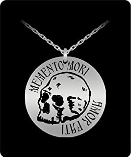 TumD Memento Mori Amor Fati Coin Stoic Gift Stoicism Jewelry Skull Death Laser Engraved Pendant Necklace