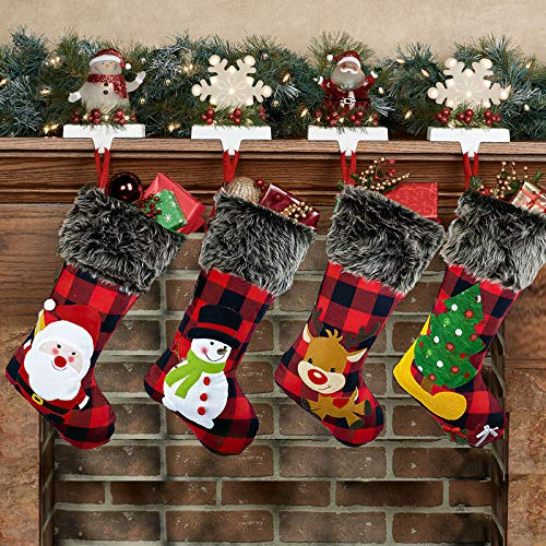 Hiquaty Christmas Stockings Plaid 4 Pack, 18 Inches Burlap Stocking Plaid Style with Santa Snowman Reindeer Tree Xmas Stockings Plush Faux Fur Cuff Stockings Fireplace Hanging Christmas Decorations