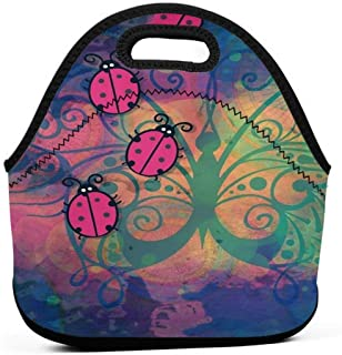 Neoprene Insulated Lunch Bag Tote Ba Colorful Ladybug Leakproof Reusable Lunch Box