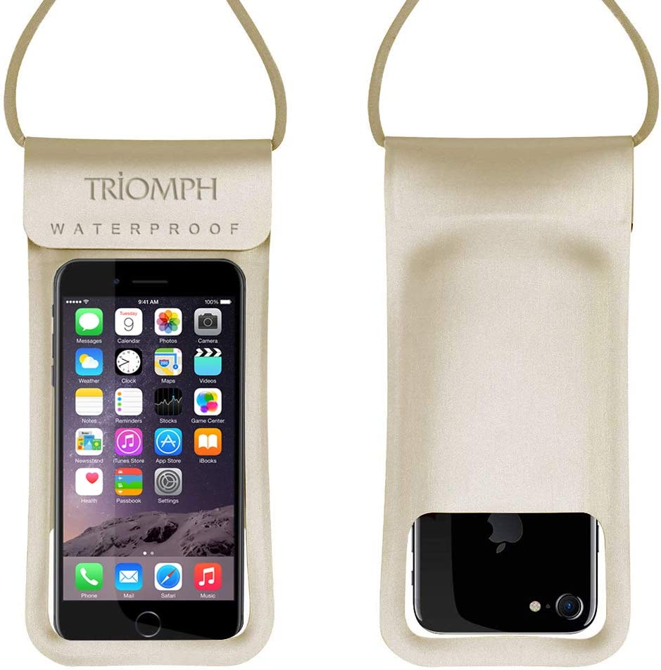 Triomph Universal Waterproof Phone Pouch, IPX8 Waterproof Phone Case, Dry Bag for iPhone Xs Max/Xr/X/8/8Plus/7/7Plus/6/6s Plus, Samsung Galaxy S10 S9+,Note, up to 6.5