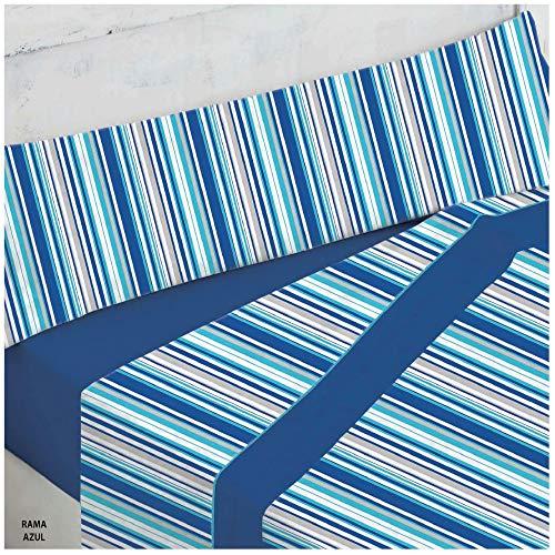 COTTON ARTean Juego de sabanas Invierno Franela 100% Algodon Modelo Rama Azul Cama de 105 x 190/200