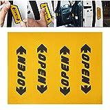 SKS Distribution 4pcs/set reflectante abierto estilo de coches Adhesivo Puerta Abierta de advertencia de seguridad pegatina para coche, color amarillo