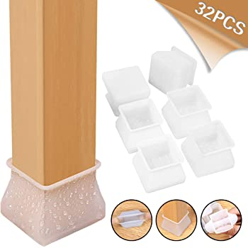 Silicone Leg Feet Pads Round /& Square Chair Leg Caps 32Pcs Furniture Silicon Protection Cover for Chair /& Table Floor Scratches Protectors