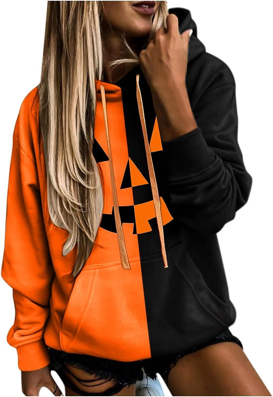 Fudule Halloween Costumes for Women Pumpkin Face Graphic Hoodies Casual Long Sleeve Sweatshirts 2021 Fashion Fall Hoodie