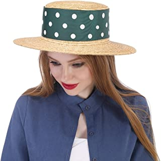 XueQing Pan Straw Sun Hat For Women With Green Ribbon Boater Sunhat Pork Pie Lady