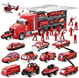 JOYIN 14 in 1 Die-cast Fire Truck Vehicle Toy Set with Sounds and Lights, Fire Engine Vehicles in Carrier Truck, Mini Rescue Emergency Fire Truck Car Toy, Birthday Gifts for Over 3 Years Old Boys