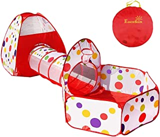 EocuSun Kids Play Tent,Ball Pit Tent with Crawl Tunnel for Boys, Girls, Babies, and Toddlers, with Zippered Storage Bag for Indoor and Outdoor Use(Red)