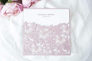 50 CARTE CONFEZIONE Partecipazioni matrimonio taglio laser fai da te inviti matrimonio carta rosa nebbiosa con busta