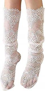 Calcetines de algodón para mujer Paquete de 2 para muslo con encaje Medias transparentes de moda