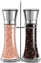 Roccar Stainless Steel Salt and Pepper Grinder Set -Tall Shaker, Adjustable Coarseness, Refillable -Sea Salt, Black Pepper...
