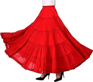 تنورة Vatino Gypsy مطوي للنساء طويلة Boho Maxi التنانير إسبانيا البطن الرقص الأبيض الأسود الأحمر