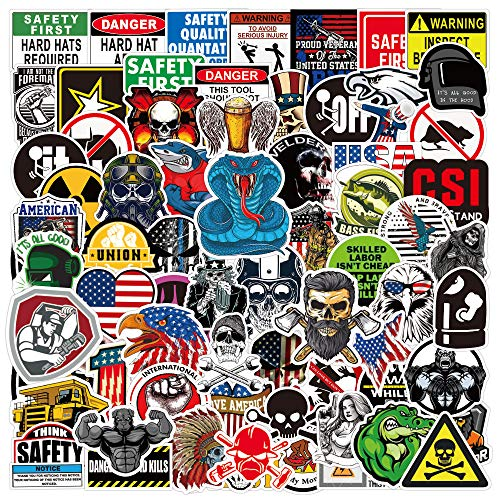 Hard Hat Stickers 100Pcs, Funny Sticker for Tool Box Construction Helmet, Waterproof Decal Stickers Pack for Adults, Mechanics, Electricians, Union, Oilfield, Military, Welders, Blue Collar Stickers