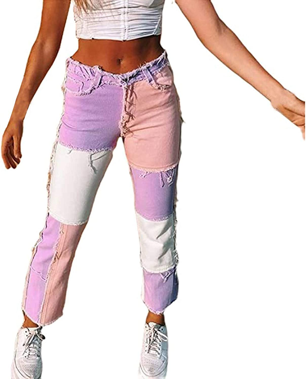 656 Women High Waist Jeans Valentine's Day Denim Pants Clothes Straight Leg Heart Print Streetwear Jeans