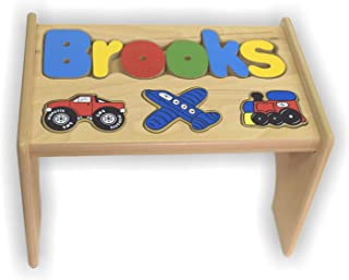 babykidsbargains Personalized Transportation Wooden Puzzle Stool- Stool Color: Natural, Letter Color: Primary, 1-8 Letters
