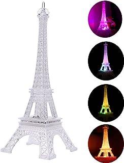 Lámpara LED Colorido Torre Eiffel Luz de noche París Estilo Decoración Moda Escritorio Dormitorio Acrílico Luz