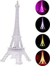 Uonlytech Colorful Eiffel Tower Night Light, 7 Colors LED Lamp Paris Fashion Style Acrylic Decoration Gift, 9.8 Inches