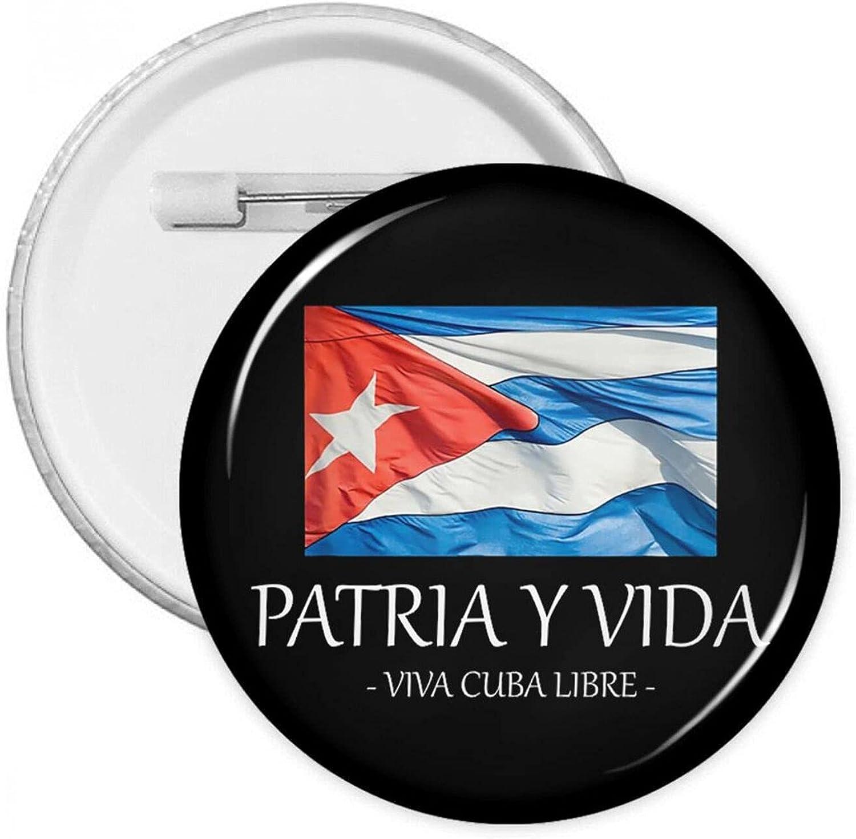 Patria shopping Y Vida Viva Cuba Libre Cheap bargain Round Dec Pin Brooch Buttons Badge
