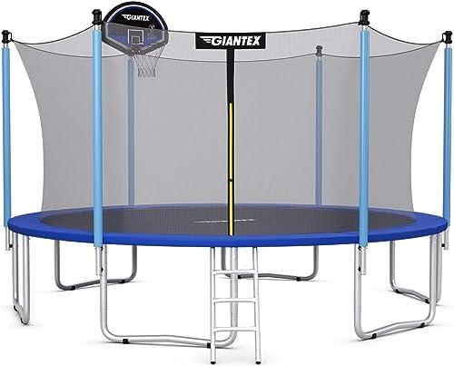 lowest Giantex Trampoline, 10Ft 12Ft 14Ft 15Ft 16Ft Enclosed Trampoline w/Basketball Hoop, Ladder, Safety Enclosure Net, Spring Pad, online sale outlet online sale Outdoor Big Trampoline Basketball Hoop for Kids, Adults sale