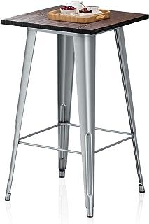VIPEK Metal Bar Table with Solid Elm Wood Top 23.6