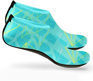 Zapatillas de agua 2 piezas hombre mujer - Calcetines de buceo antideslizantes y de secado rápido de verano para deportes acuáticos, natación, yoga, remo, embarque, esquí acuático (azul)